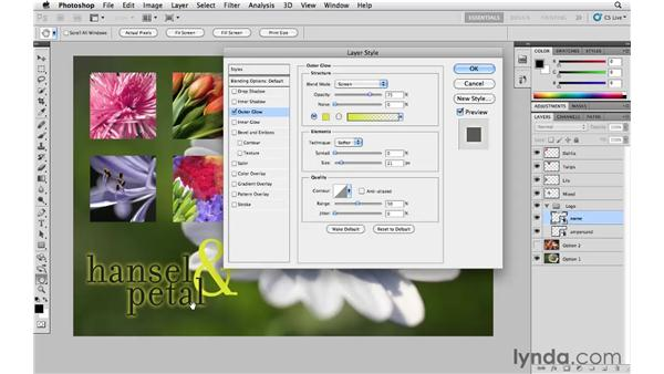 Adding an outer glow effect: Photoshop CS5 Essential Training