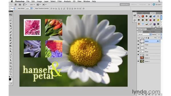 Saving layer styles and applying them in other documents: Photoshop CS5 Essential Training