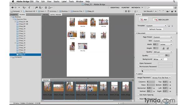 Creating PDF contact sheets: Photoshop CS5 Essential Training