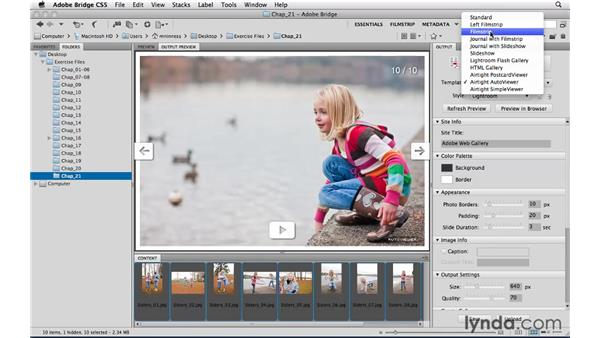 Exporting web photo galleries: Photoshop CS5 Essential Training