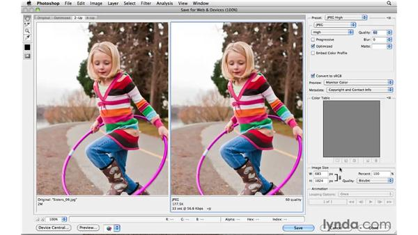 Saving for the web: Photoshop CS5 Essential Training