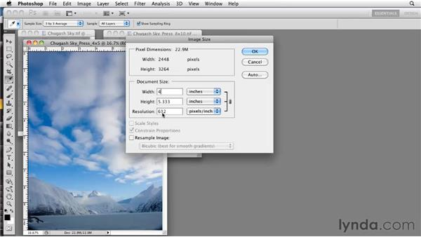 Resizing and resampling your images: Photoshop CS5: Prepress and Printing