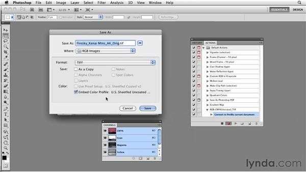 Recording actions to change color modes and file formats: Photoshop CS5: Prepress and Printing
