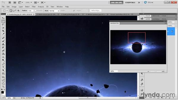 Nudging the screen from the keyboard: Photoshop CS5 One-on-One: Fundamentals