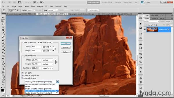 Options for upsampling: Photoshop CS5 One-on-One: Fundamentals