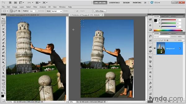 Fixing out-of-canvas wedges: Photoshop CS5 One-on-One: Fundamentals