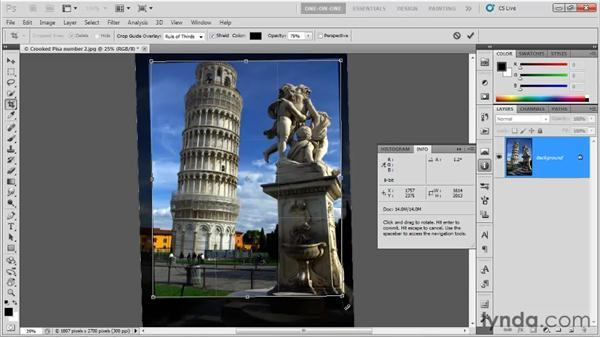 Previewing the crop angle: Photoshop CS5 One-on-One: Fundamentals