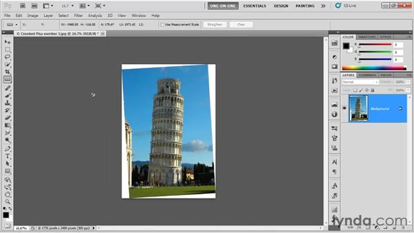 Straightening with the Ruler tool: Photoshop CS5 One-on-One: Fundamentals