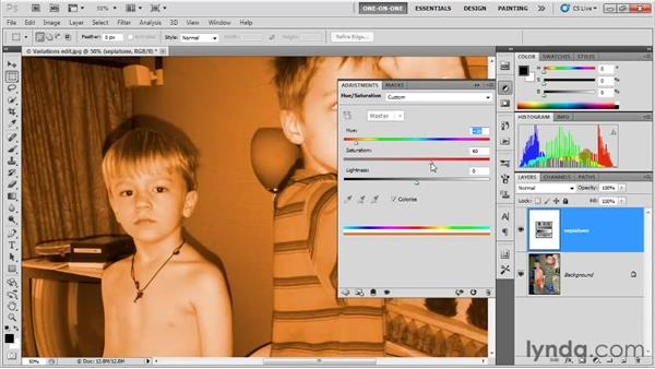 Creating a quick and dirty sepia tone: Photoshop CS5 One-on-One: Fundamentals