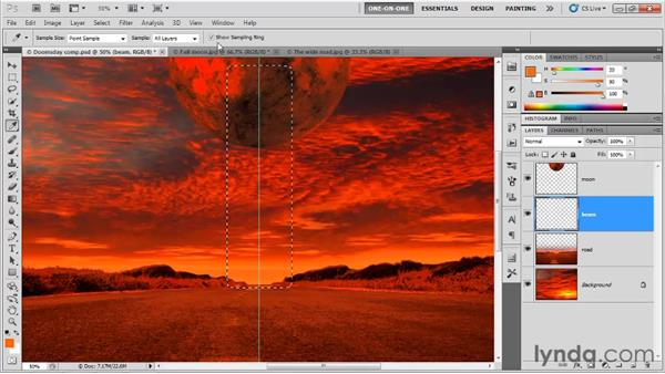 Feathering and filling a selection: Photoshop CS5 One-on-One: Fundamentals