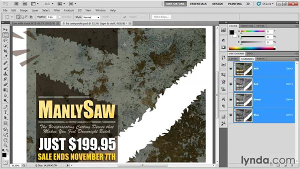 Placing an image with a layer mask: Photoshop CS5 One-on-One: Fundamentals