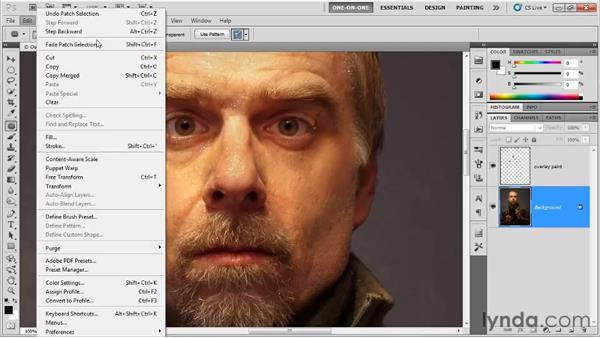 Patching eye bags: Photoshop CS5 One-on-One: Fundamentals