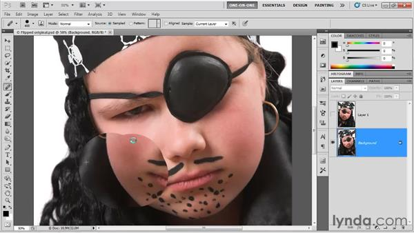 Cloning from one layer to another: Photoshop CS5 One-on-One: Fundamentals