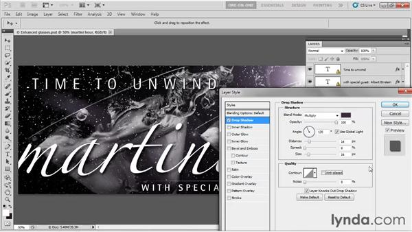 Adding shadow and stroke: Photoshop CS5 One-on-One: Fundamentals