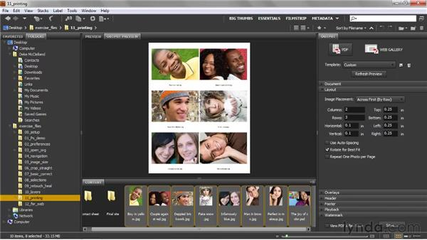 Creating A Contact Sheet Template