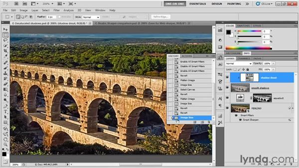 Scaling a layered image versus a flat one: Photoshop CS5 One-on-One: Fundamentals