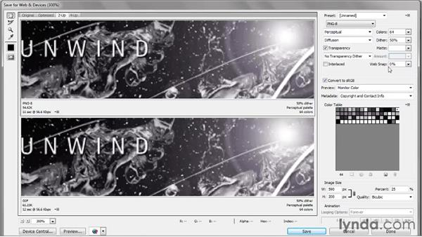 Antiquated GIF versus the better PNG: Photoshop CS5 One-on-One: Fundamentals