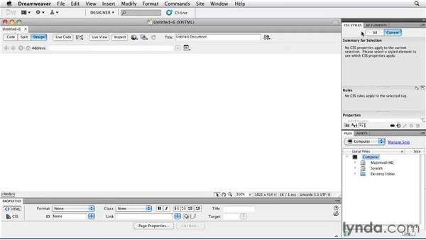 Getting familiar with the workspace: Creating a First Web Site with Dreamweaver CS5