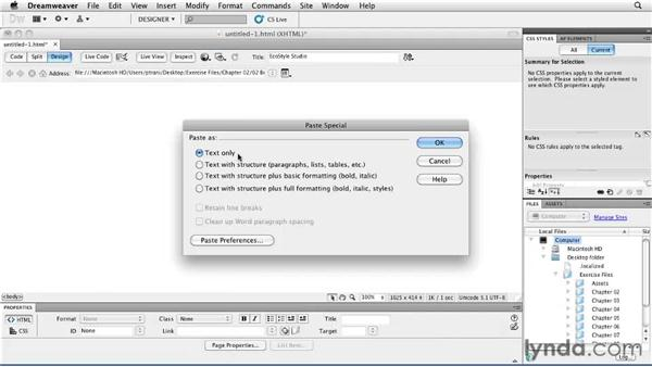 Adding content to your first web page: Creating a First Web Site with Dreamweaver CS5