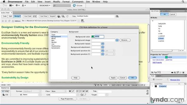 Modifying Cascading Style Sheets: Creating a First Web Site with Dreamweaver CS5