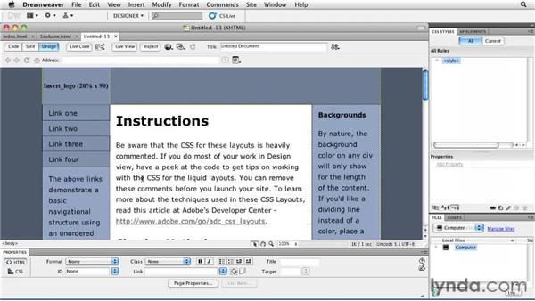 Exploring the prebuilt layouts: Creating a First Web Site with Dreamweaver CS5