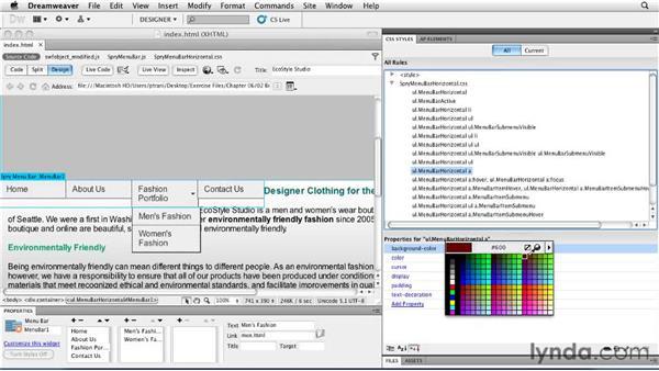 Customizing the Spry menu bar: Creating a First Web Site with Dreamweaver CS5