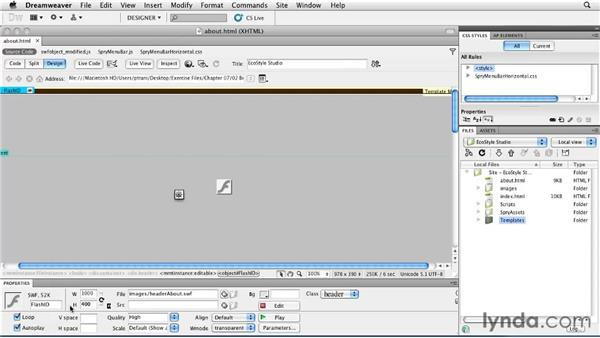 Creating multiple pages based on a template: Creating a First Web Site with Dreamweaver CS5