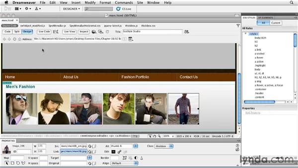 Customizing the gallery: Creating a First Web Site with Dreamweaver CS5