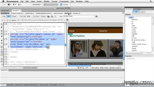 Adding a gallery: Creating a First Web Site with Dreamweaver CS5