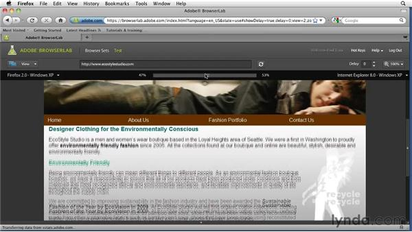 Testing the site in BrowserLab: Creating a First Web Site with Dreamweaver CS5