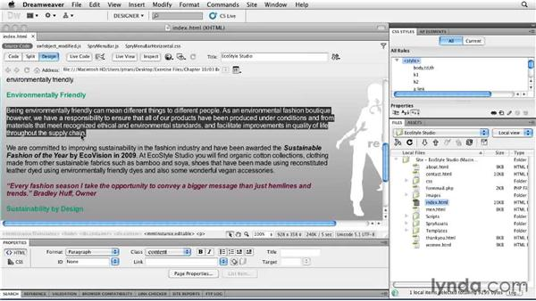 Refining the site for search engines: Creating a First Web Site with Dreamweaver CS5