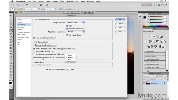 File-handling preferences: Photoshop CS5 for Photographers