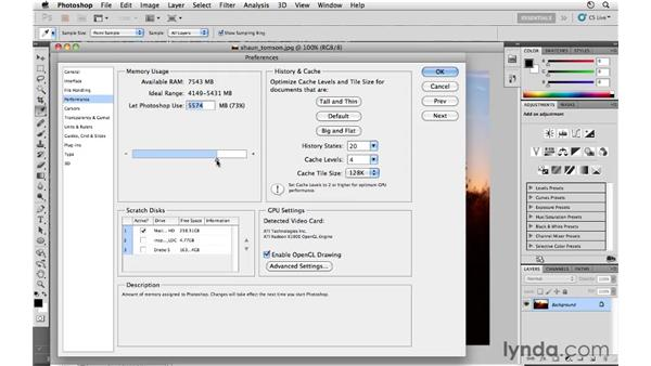 Performance preferences : Photoshop CS5 for Photographers