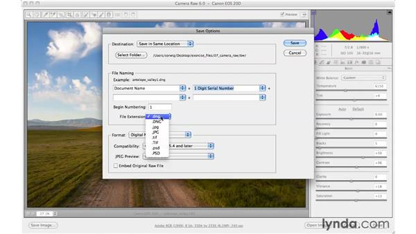 Saving images from Adobe Camera Raw: Photoshop CS5 for Photographers