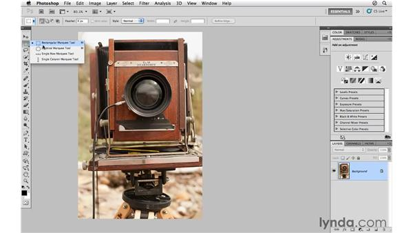 Using the Marquee Selection tool: Photoshop CS5 for Photographers