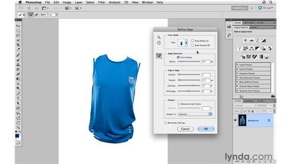 Using Refine Edge with a color range: Photoshop CS5 for Photographers