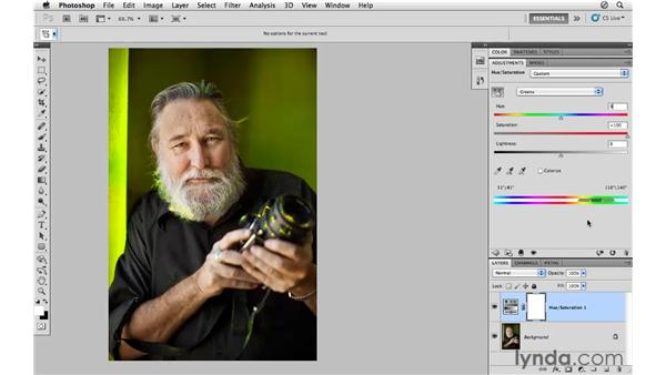 Replacing color with Hue/Saturation: Photoshop CS5 for Photographers