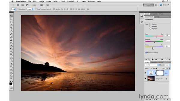 Using Color Balance to improve sunrise colors: Photoshop CS5 for Photographers
