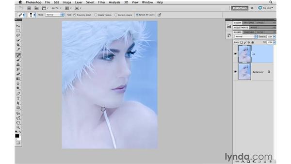 Removing a garment strap with spot healing: Photoshop CS5 for Photographers