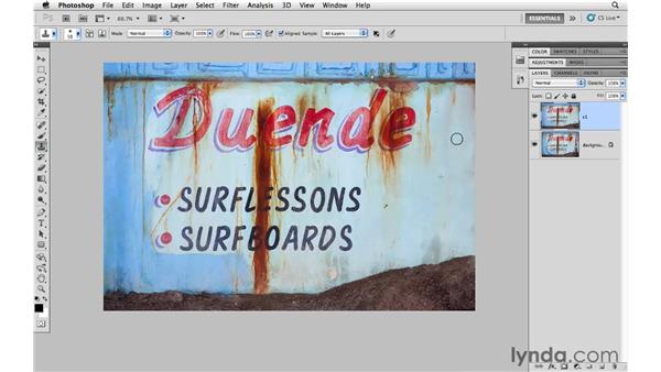 Cleaning up an image with spot healing, cloning, and healing : Photoshop CS5 for Photographers