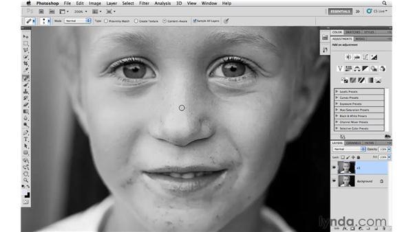 Removing blemishes: Photoshop CS5 for Photographers