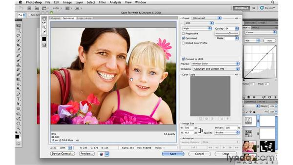 Saving and exporting images for the web and email: Photoshop CS5 for Photographers