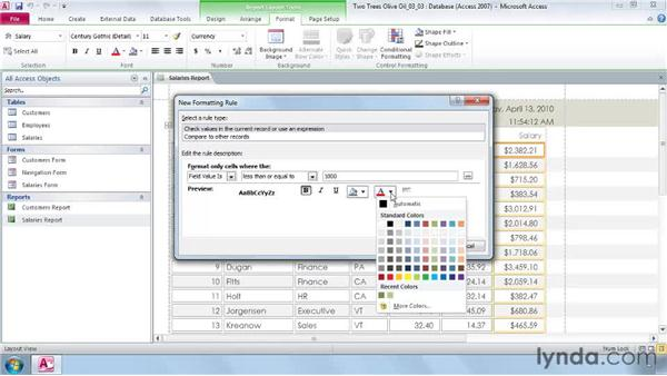 Using conditional formatting: Access 2010 New Features