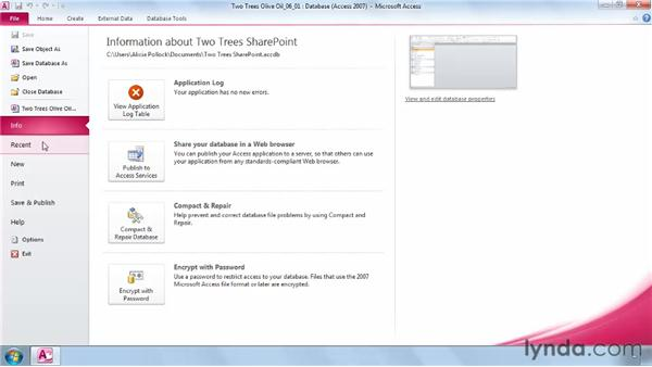 Integrating SharePoint publishing: Access 2010 New Features