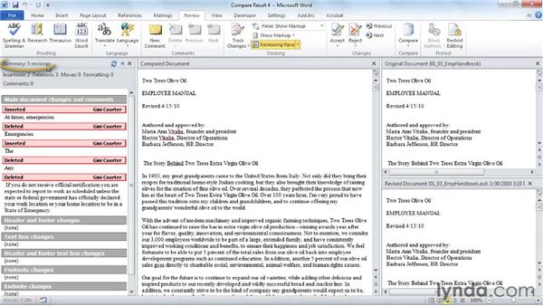 Returning to a previous version of a document: Word 2010 New Features
