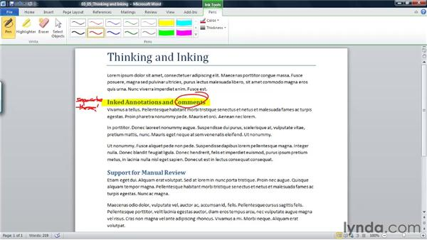 Using the inking features with a tablet computer to write directly in a document: Word 2010 New Features