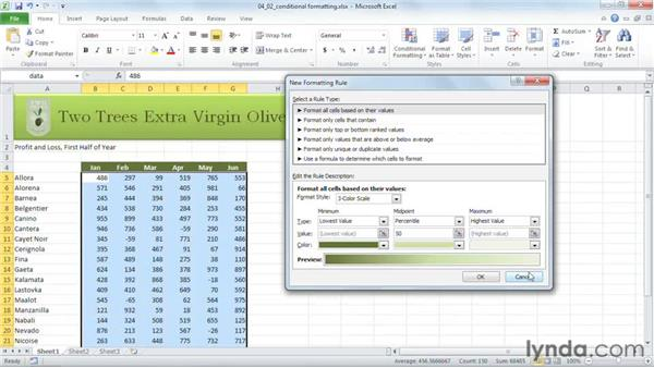 Applying the enhanced conditional formatting features: Excel 2010 New Features