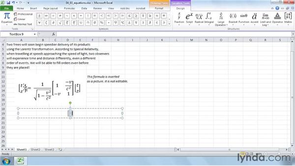 Formatting math equations with the improved equation tools: Excel 2010 New Features