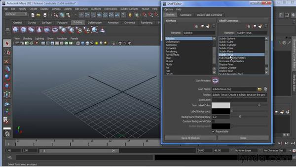 Using the new Shelf Editor: Maya 2011 New Features