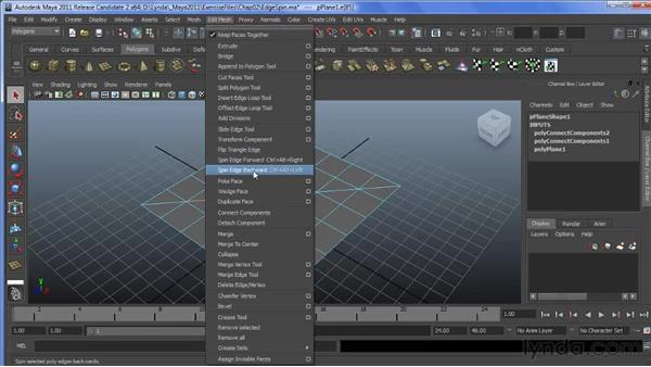 Using the Spin Edge tool: Maya 2011 New Features